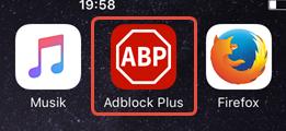 """Wählen Sie auf dem Homescreen """"Adblock ..."""